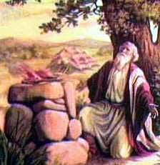Abraham worshiping at his altar picture.