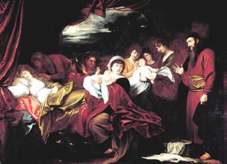 Painting of the births of Jacob and Esau.
