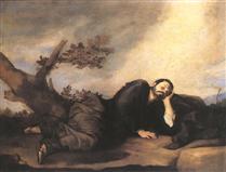 Jacob at Bethel asleep on a rock.